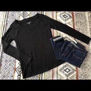 LOFT Black V Neck Knit Top M